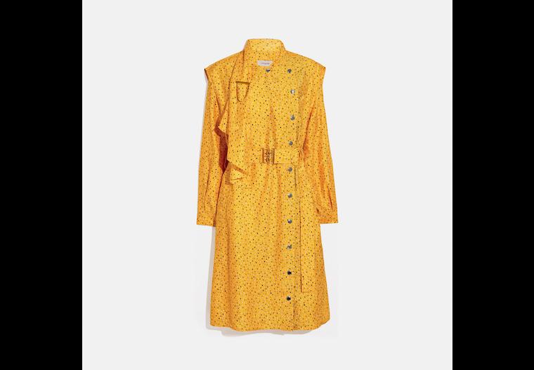 Dot Print Architectural Drape Belted Dress image number 0