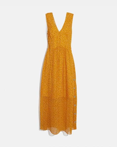 Sleeveless Dot Print V Neck Dress