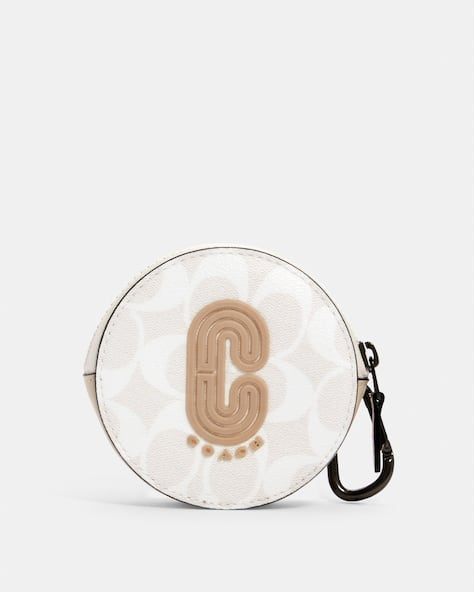 Round Hybrid Pouch In Signature Canvas With Coach Patch