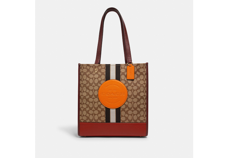 Dempsey Tote In Signature Jacquard With Stripe And Coach Patch image number 0
