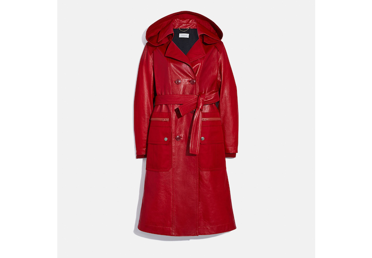 Leather Trench With Ruching Detail image number 0