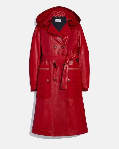 Leather Trench With Ruching Detail