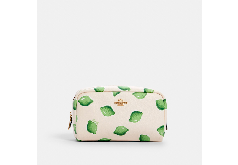 Small Boxy Cosmetic Case With Lime Print image number 0