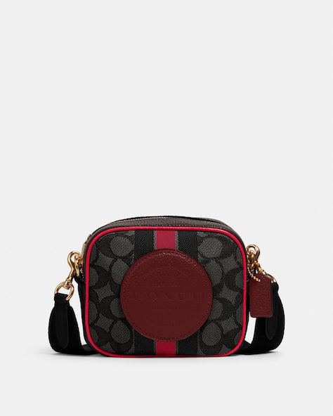 Mini Dempsey Camera Bag In Signature Jacquard With Stripe And Coach Patch