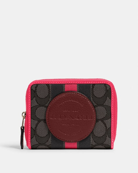Dempsey Small Zip Around Wallet In Signature Jacquard With Stripe And Coach Patch