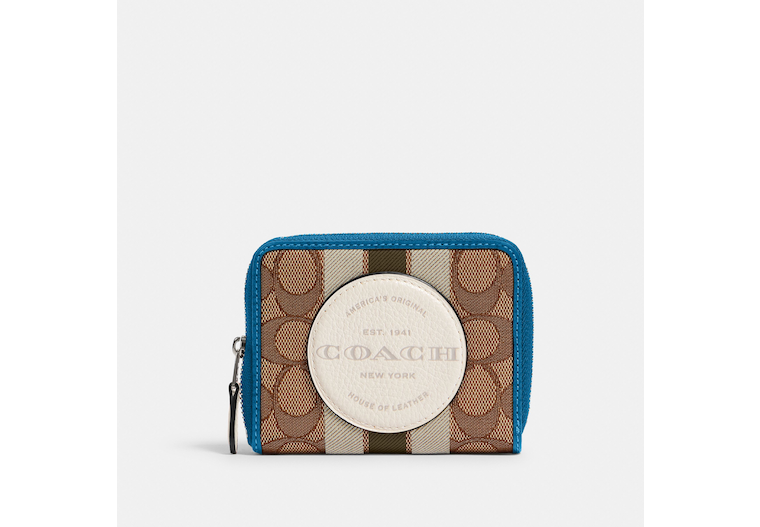 Dempsey Small Zip Around Wallet In Signature Jacquard With Stripe And Coach Patch image number 0