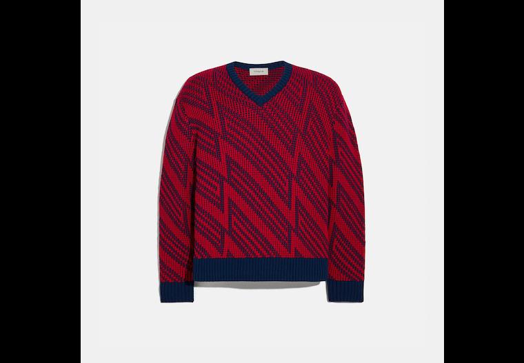 Jacquard V Neck Sweater image number 0