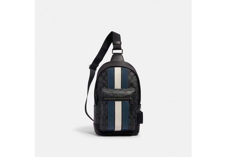 West Pack In Signature Canvas With Varsity Stripe image number 0