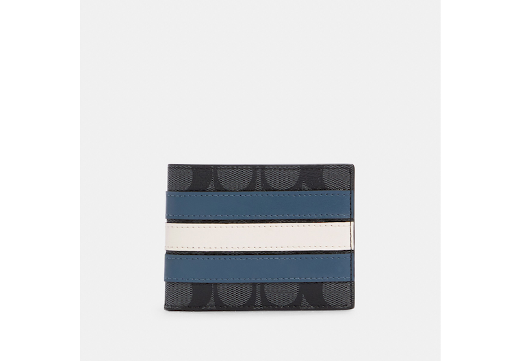 Slim Billfold Wallet In Signature Canvas With Varsity Stripe image number 0