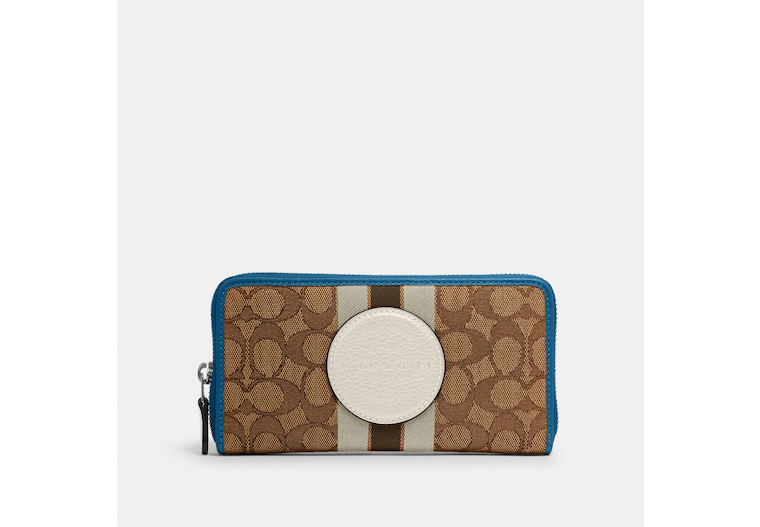 Dempsey Accordion Zip Wallet In Signature Jacquard With Stripe And Coach Patch image number 0