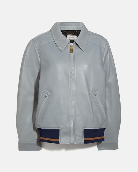 Leather Blouson Jacket With Rib