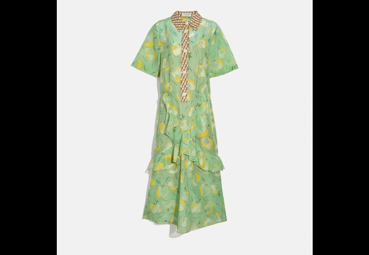 Apple Print Long Ruffle Shirt Dress image number 0