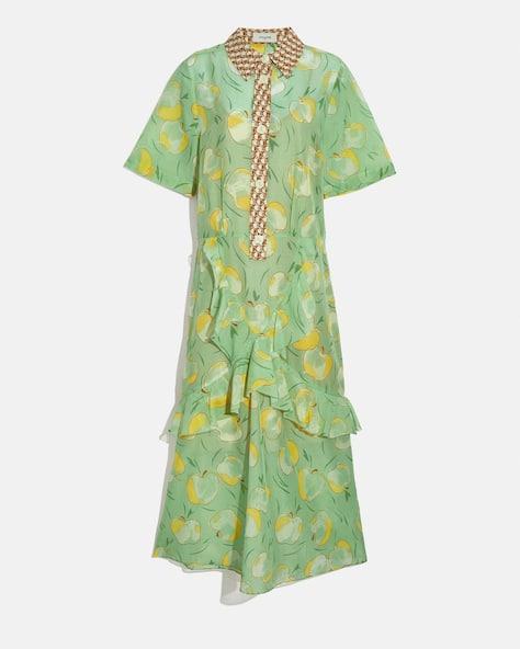 Apple Print Long Ruffle Shirt Dress