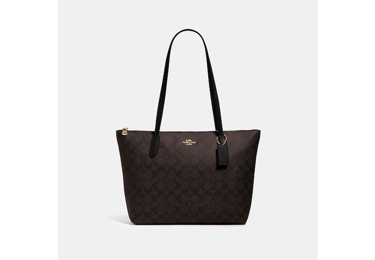 Zip Top Tote In Signature Canvas image number 0