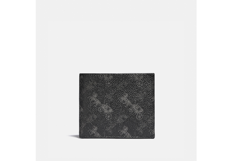 Double Billfold Wallet With Horse And Carriage Print image number 0