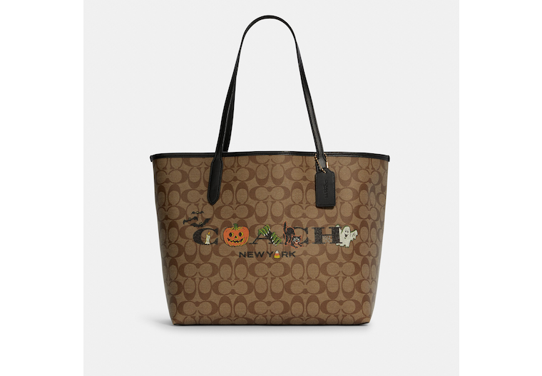 City Tote In Signature Canvas With Halloween image number 0