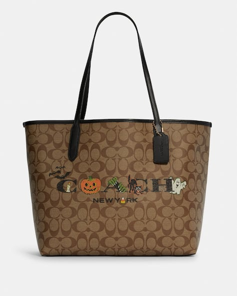 City Tote In Signature Canvas With Halloween