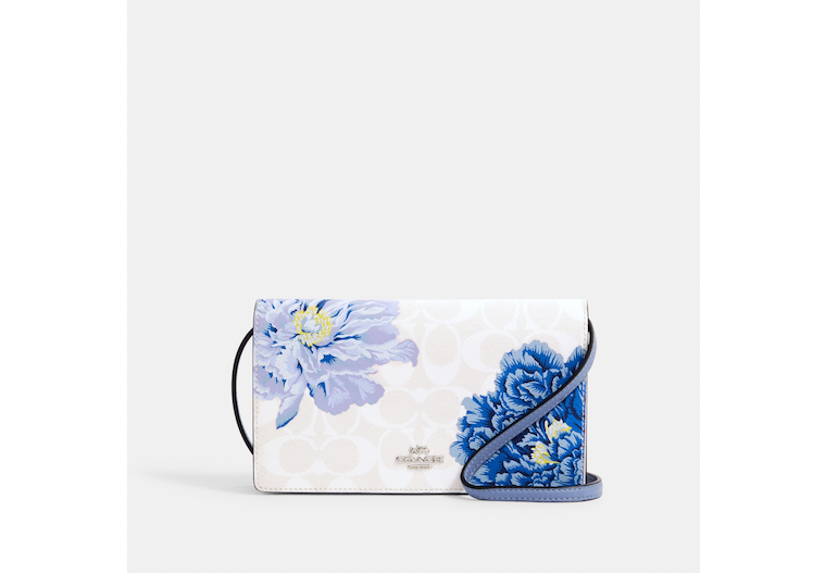 Anna Foldover Crossbody Clutch In Signature Canvas With Kaffe Fassett Print image number 0