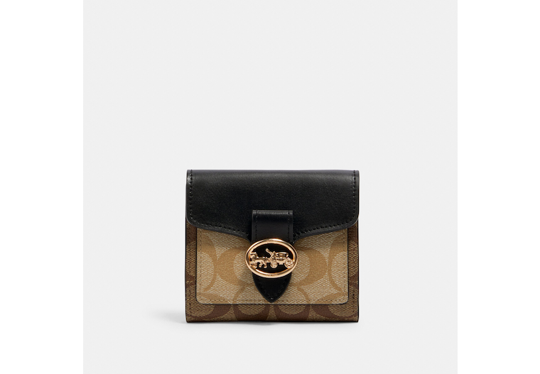 Georgie Small Wallet In Blocked Signature Canvas image number 0