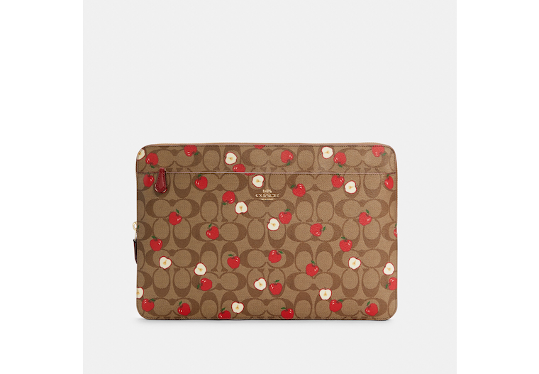 Laptop Sleeve In Signature Canvas With Apple Print image number 0