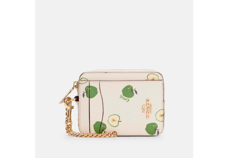 Zip Card Case With Apple Print image number 0