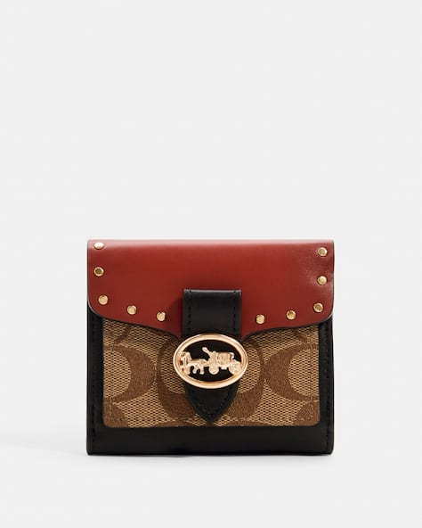 Georgie Small Wallet In Colorblock Signature Canvas With Rivets