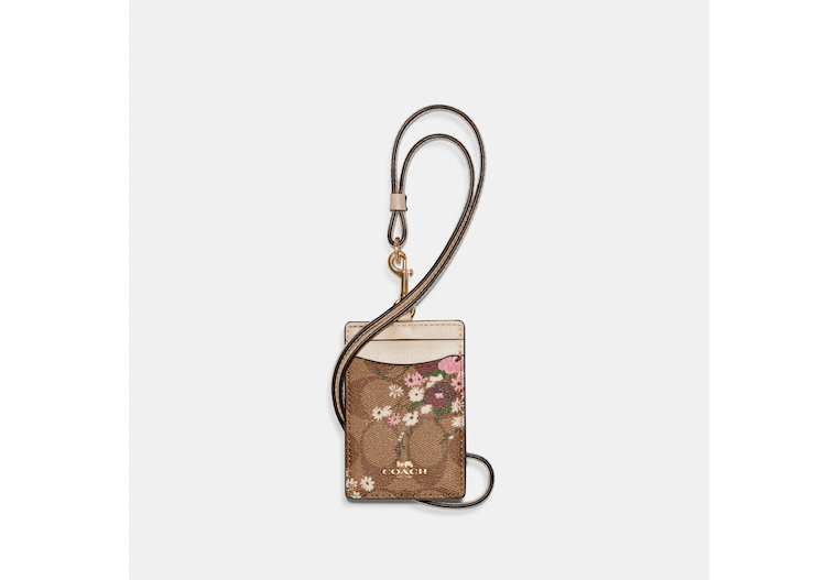 Id Lanyard In Signature Canvas With Evergreen Floral Print image number 0