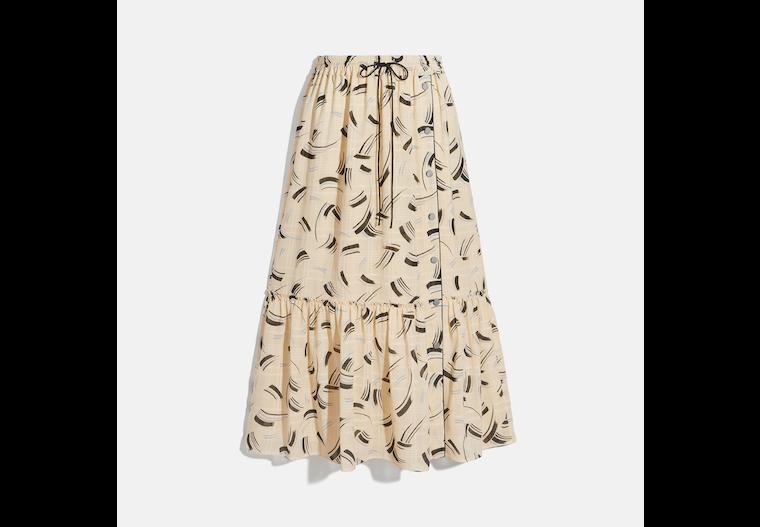 Brushstroke Plaid Skirt image number 0