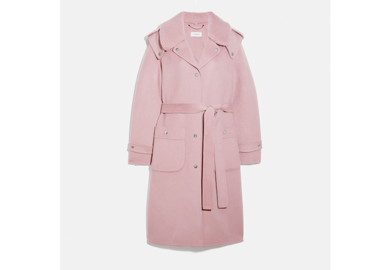 Double Face Midi Coat With Removable Shearling Collar image number 0