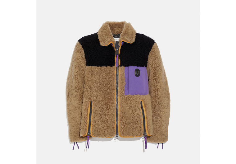 Colorblock Shearling Jacket image number 0