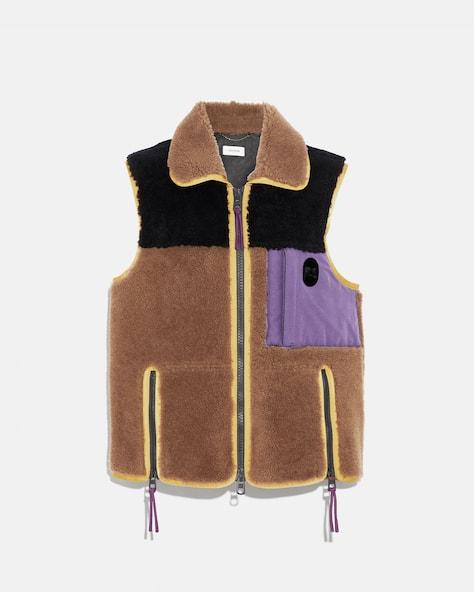 Colorblock Shearling Vest