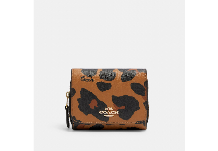 Small Trifold Wallet With Leopard Print image number 0
