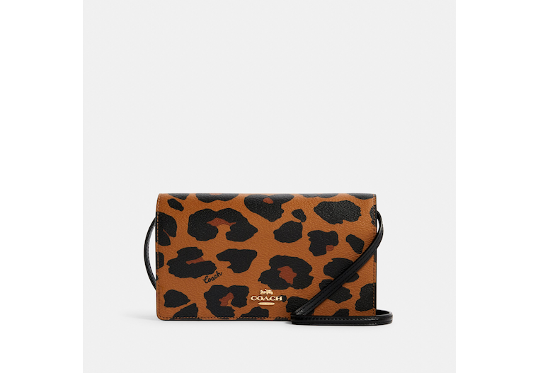 Anna Foldover Crossbody Clutch With Leopard Print image number 0