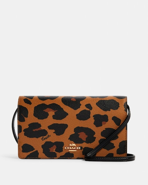Anna Foldover Crossbody Clutch With Leopard Print