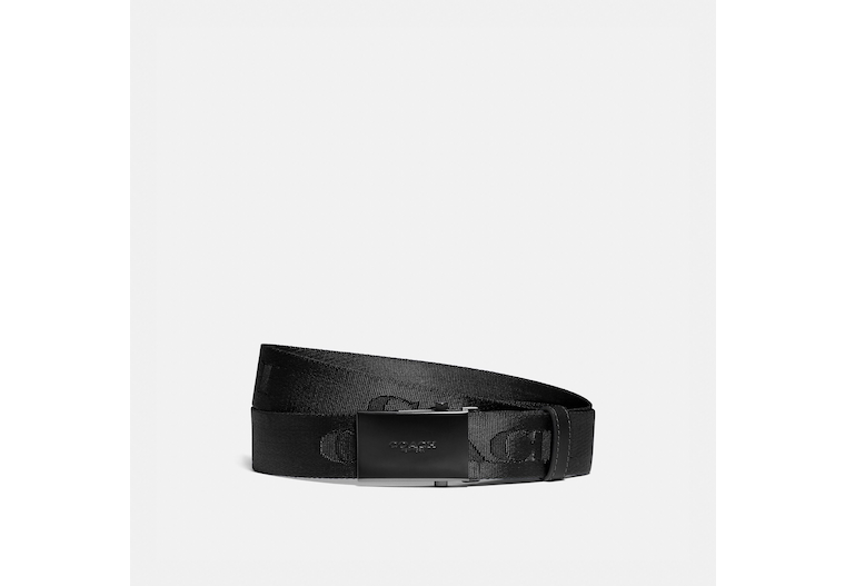 Plaque Buckle Belt With Coach Print, 35 Mm image number 0