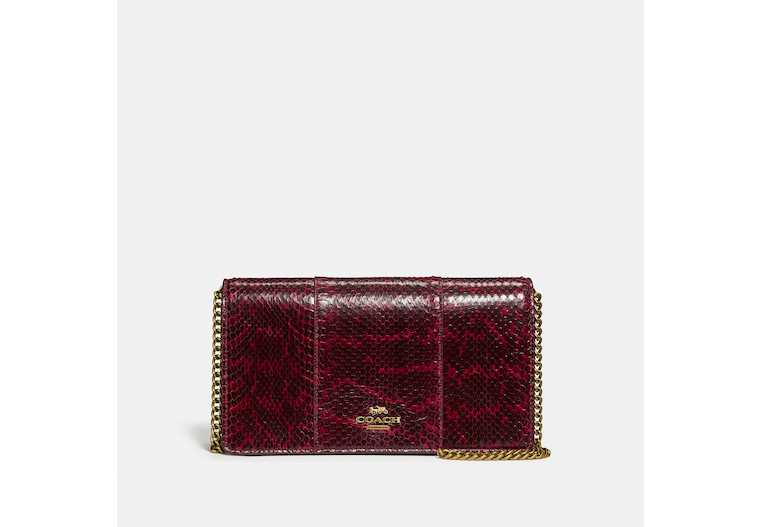 Callie Foldover Chain Clutch In Blocked Snakeskin image number 0