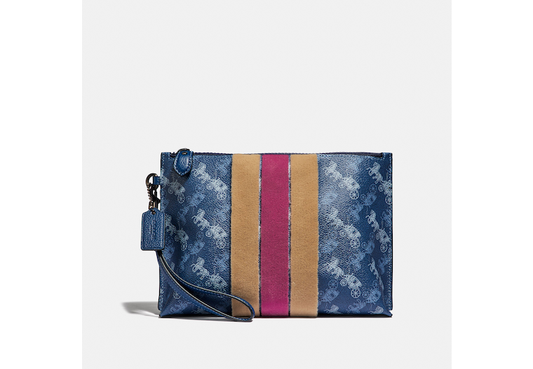 Charlie Pouch With Horse And Carriage Print And Varsity Stripe image number 0