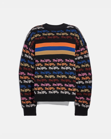 Rainbow Horse And Carriage Crewneck Sweater