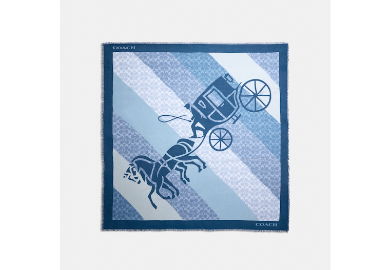 Signature Horse And Carriage Print Oversized Square Scarf image number 0