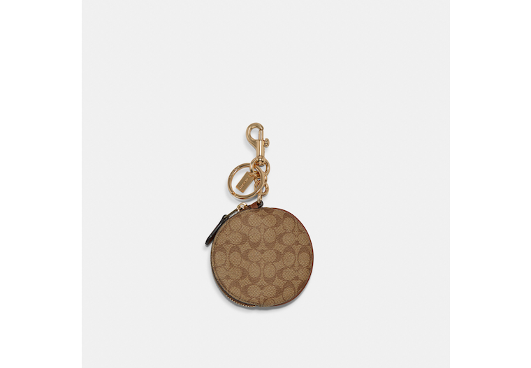 Circular Coin Pouch Bag Charm In Signature Canvas image number 0