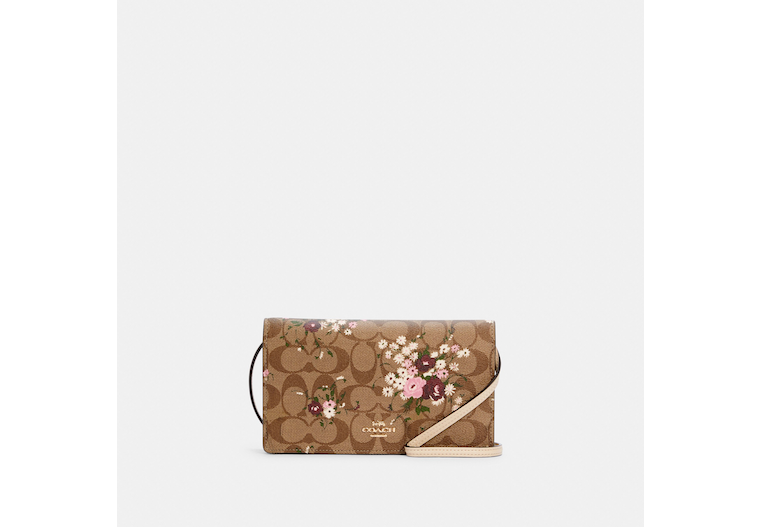 Anna Foldover Crossbody Clutch In Signature Canvas With Evergreen Floral Print image number 0