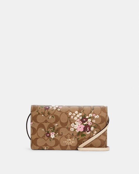 Anna Foldover Crossbody Clutch In Signature Canvas With Evergreen Floral Print