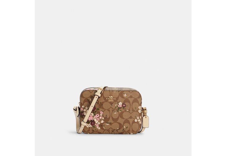 Mini Camera Bag In Signature Canvas With Evergreen Floral Print image number 0