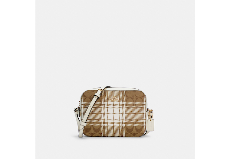 Mini Camera Bag In Signature Canvas With Hunting Fishing Plaid Print image number 0