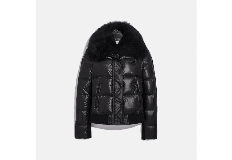 Puffer Jacket With Shearling image number 0