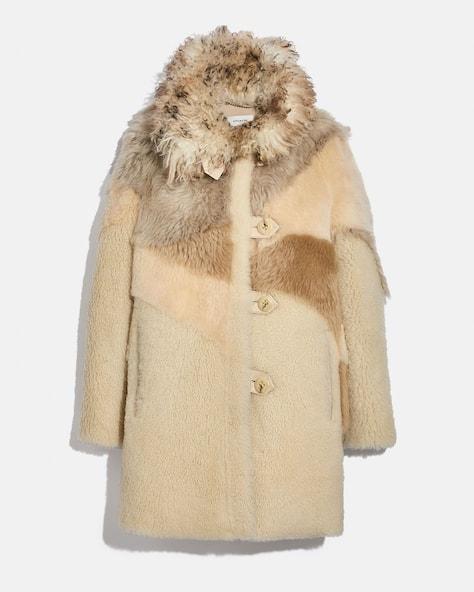 Pieced Shearling Coat