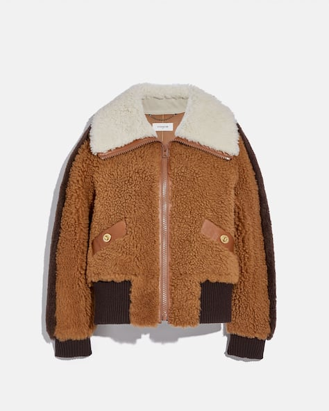 Shearling Bomber With Turnlocks