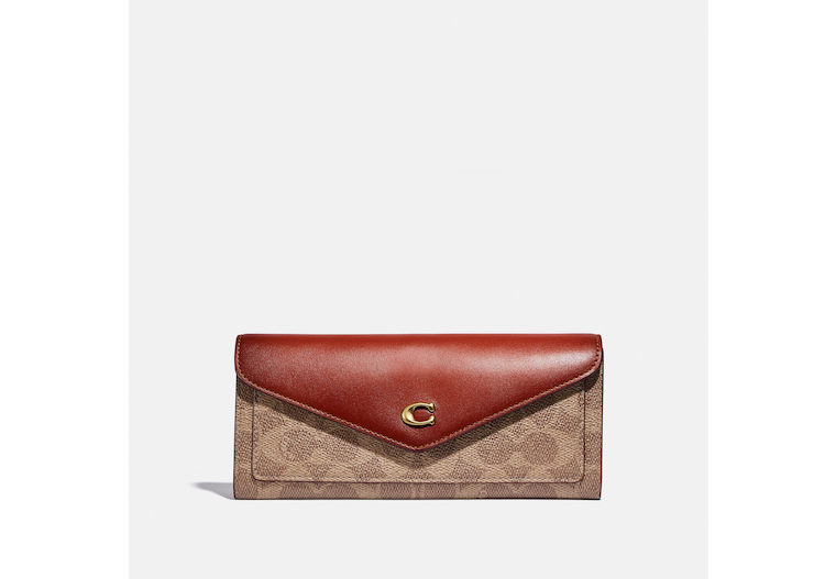 Wyn Soft Wallet In Colorblock Signature Canvas image number 0