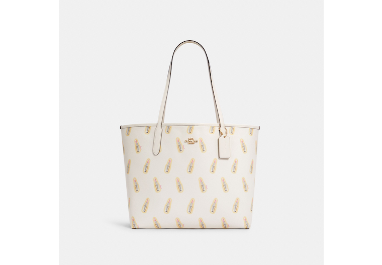 City Tote With Lipstick Print image number 0