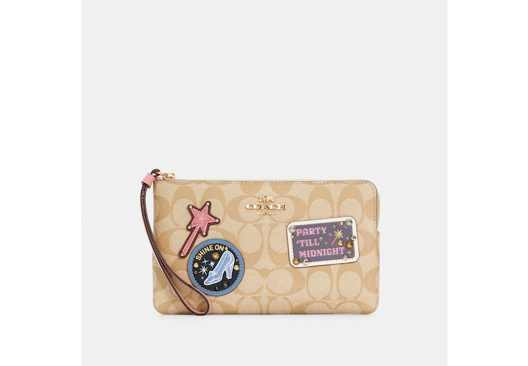 Disney X Coach Large Corner Zip Wristlet In Signature Canvas With Patches image number 0